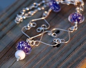Nighttime Snow Silver Wire and Lampwork Bead Necklace