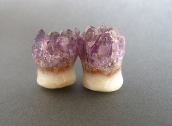 RESERVED 00g Natural Raw Amethyst Druzy Plugs