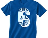 Birthday Number shirt 6th --------KIDS boys T Shirt------- ALL sizes--------youth xs, yth sm, yth med, yth lg, yth xl ( 7 color choices )