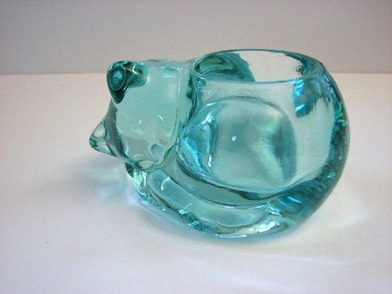 Indiana Glass Co. Sleeping Cat Votive Holder, HTF Teal Color