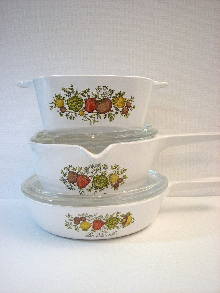 Vintage Corningware Spice Of Life 5 Pc Menu Ette Set
