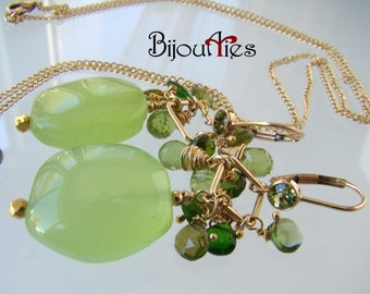 Chalcedony Pendant, Dangle Earrings,Chain Necklace,Peridot, Tourmaline, Diopside.
