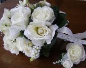 Silk bridal bouquet groom's boutonniere set white roses ranunculus