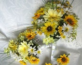 Reserved for Regina Bridal bouquets and boutonnieres daisy gerbera daisy sunflower wedding bouquet set