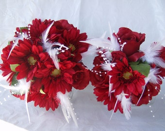 Wedding bouquet red roses and gerbera daisies white feathers 6 piece feather bridal bouquet set includes hair clips