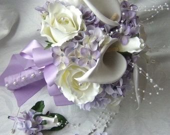 Silk bridal bouquet crème white calla lilies roses lilac hydrangea wedding bouquet and boutonniere set matching hair pins
