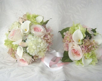 4 piece Silk bridal bouquet pink and creme rose and calla lily wedding bouquet