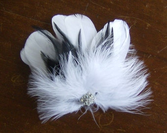 White and black feather hair clip rhinestone bridal fascinator feather hair clip