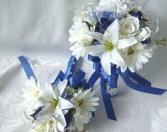 Wedding bouquets Roses lilies gerbera daisies 4 piece set bridal bouquets and boutonniere