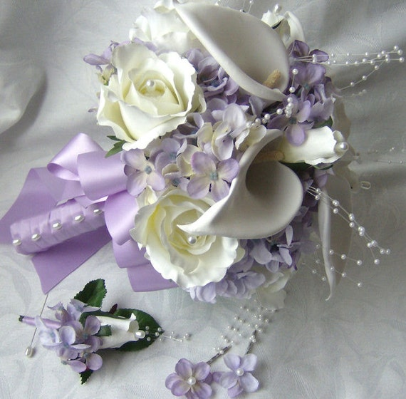Silk Bridal Bouquet Creme White Calla Lilies Roses Lilac