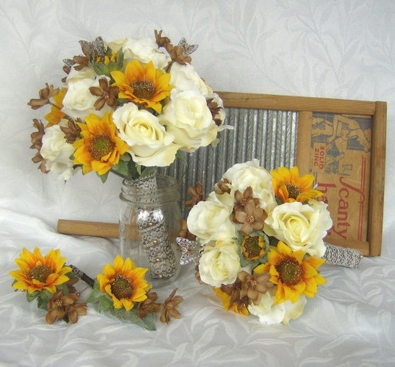 rustic wedding flower arrangements sunflower bridal bouquet sunflower roses wedding bouquet silk 7215