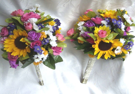 Reserved Price Reduced Sample Sunflower Bridal Bouquet