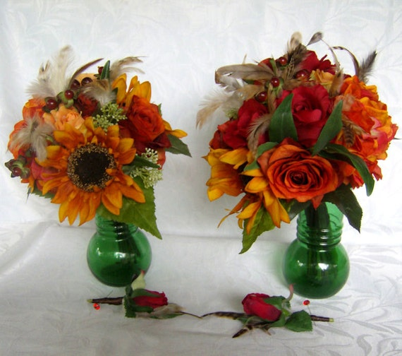 Silk wedding bouquets and boutonnieres bridal bouquet set sunflower bouquet burnt orange yellow red
