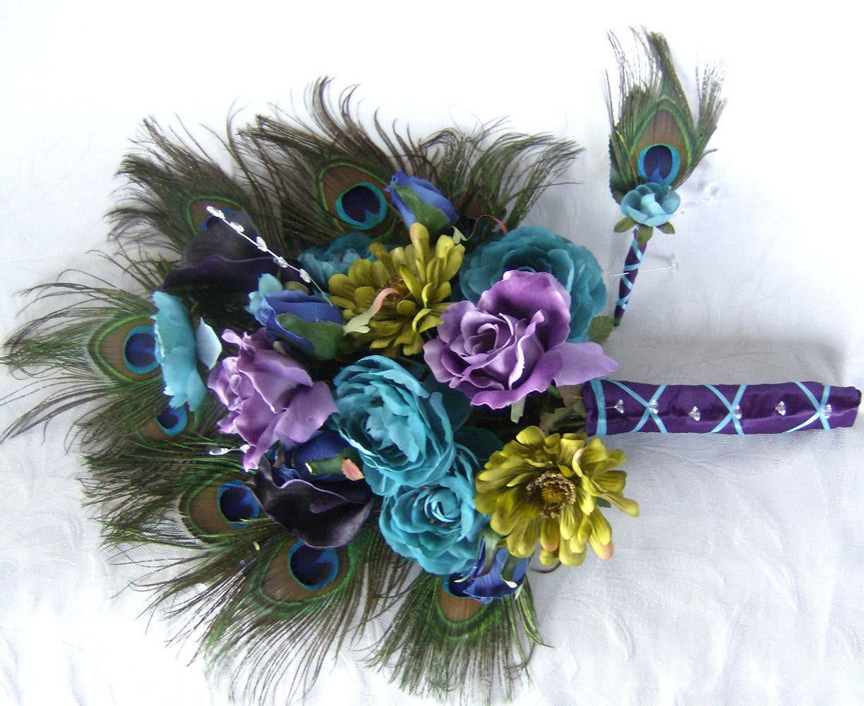 White Wedding Bouquets With Peacock Feathers : Wedding bouquet peacock feather turquoise purple