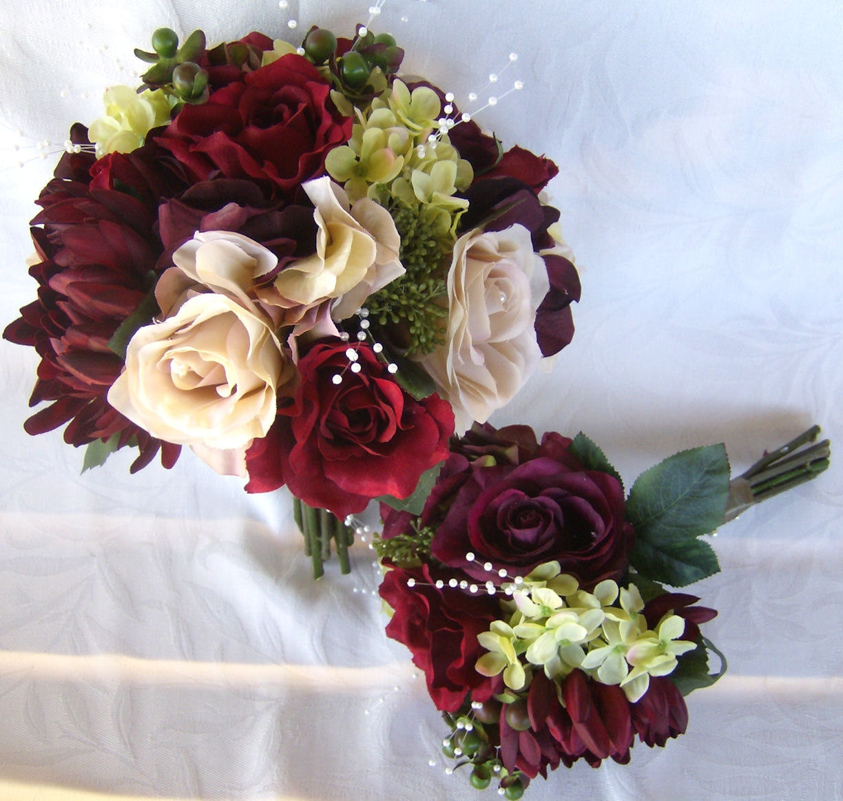 Reserved Wedding Bouquet Shades Of Burgundy And Ivory Roses