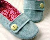 Women's Slippers - Aqua, Pink, and Red House Slippers with Decorative Straps and Buttons