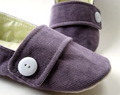 Womens Slippers -  Purple Corduroy House Shoes with Decorative Flaps and Buttons - Size 7