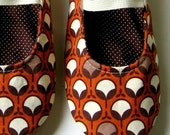 Womens Slippers - Mary Jane Slippers in  Rust  Orange and Brown