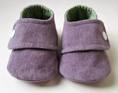 Baby Booties in Dusty Purple Corduroy and Sage Green and White Polka Dot Cotton - Sizes 1-4