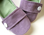 SALE - Women's Slippers - Purple, Sage, and White House Slippers with Decorative Straps and Buttons - Size 7