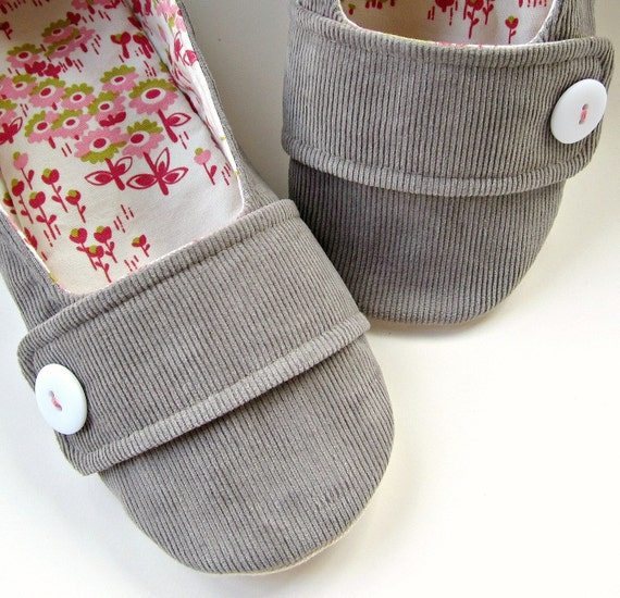 Women's Slippers - Grey Corduroy, Pink, Berry, and Lime House Slippers with Decorative Straps and Buttons