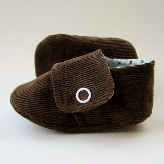 SALE - Baby Booties in Dark Brown Corduroy and Pale Blue and Brown Polka Dot Cotton - Size 2