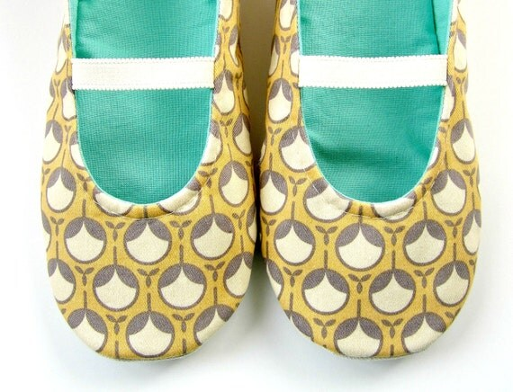 Womens Slippers - Mary Jane Slippers in Butter Yellow, Grey, Cream, and Pale Aqua