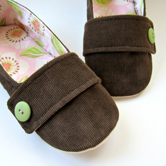 Women's Slippers - Dark Brown Corduroy, Pink, Green, and White House Slippers with Decorative Straps and Buttons