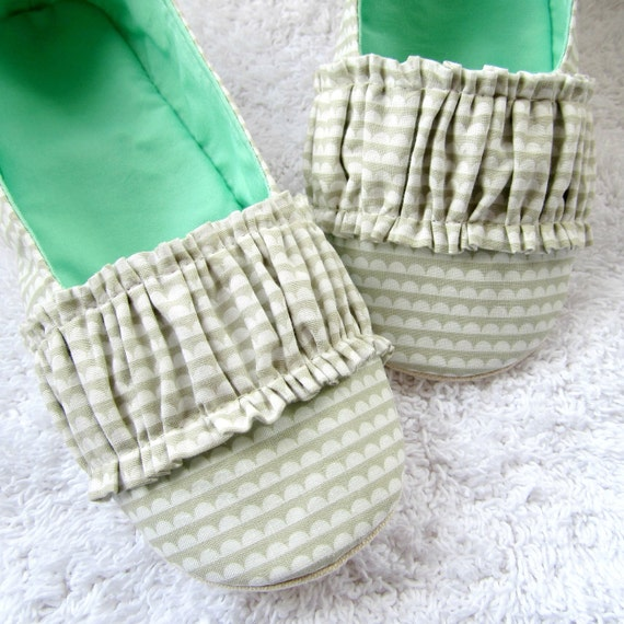 Women's Slippers - Ruffled Mary Jane House Slippers in Grey, White, and Aqua