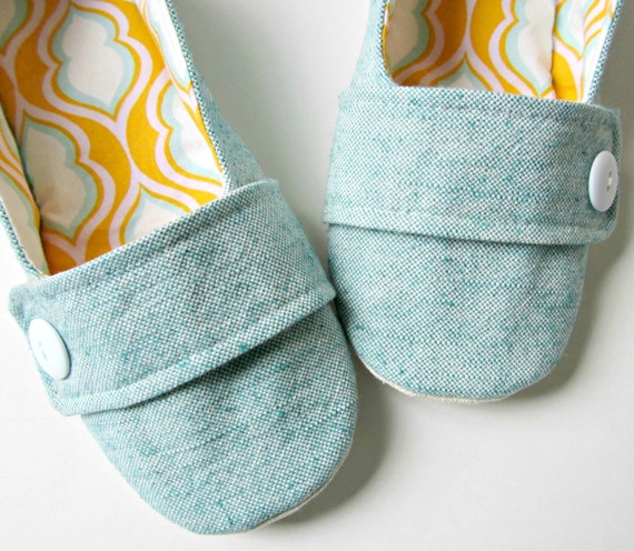 Women's Slippers - Aqua, Tangerine and Yellow House Slippers with Decorative Straps and Buttons - Size 7
