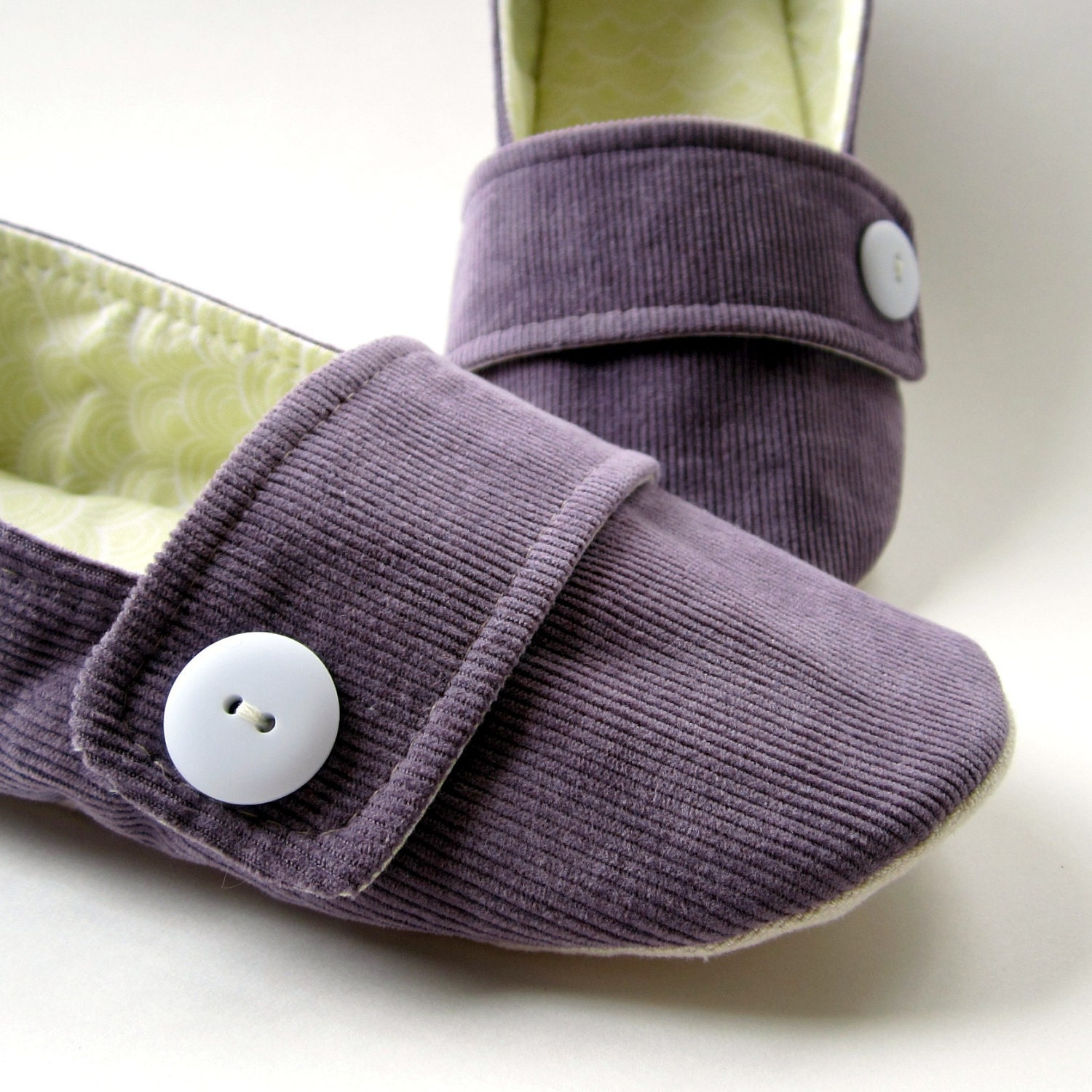 Womens Slippers Purple Corduroy House Shoes with Decorative