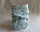 Newborn Cloth Diaper - Boy Blue with Cute Diaper Pin Print 6lbs to 15lbs