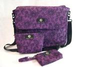 SALE Large Purple Messenger Crossbody Bag Zelda Lace Print 80s retro