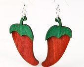 Red Hot Chili Peppers - Layered Laser Cut Earrings from Reforested Wood