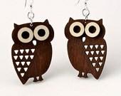 Owls - Little Hoot wood earrings