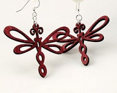 Dragonfly Earrings - Laser Cut Reforested wood
