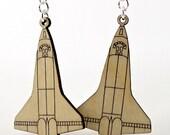 Space Shuttle Discovery - Laser Cut Wood Earrings