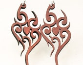Heart Tattoo - Wood Earrings