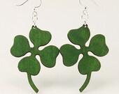 Four Leaf Clover - Eco Friendly Wood Earrings