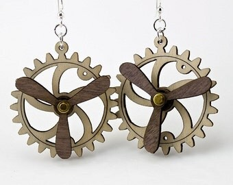 Spinning Propeller Gear Earrings - Laser Cut from Reforested Wood - 5006B