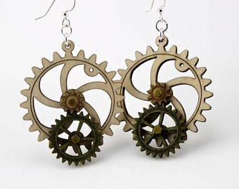 Gear Earrings that move - made from wood - hugo steampunk style