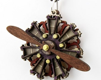 Radial Propeller Engine Pendant #7001A - Made from Wood