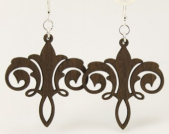Chandelier Design - Laser Cut Wood Earrings from Sustainable Materials