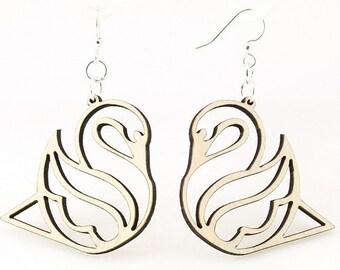 Swan - Wooden Earrings