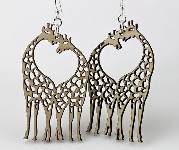 Aninimal Book: Giraffes with Heart in the middle Wood Earrings