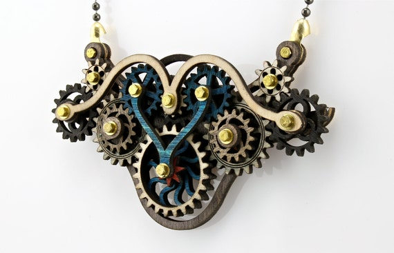 Kinetic Wing Gear Pendent Laser Cut from Wood -Steampunk - Hugo