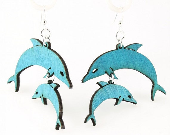 Dolphin Earrings - Laser Cut from Reforested Wood