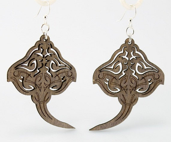 Sting Rays - Laser Cut Wood Earrings