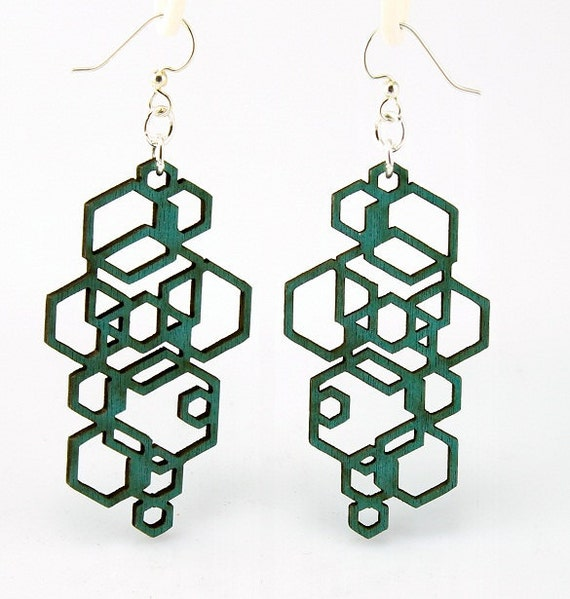 Hexagon Cluster - Wood Earrings