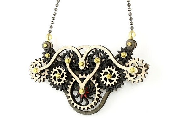 Wood Steampunk - Kinetic Wing Gear Pendant #6004C - Black and White